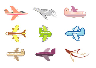 Airplane, jet - isolated vector icon