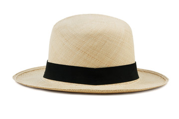 Wide-brimmed straw hat on a white background