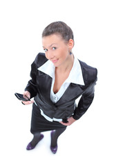 Top view of business woman. Isolated over white background