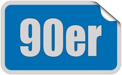 Sticker blau eckig curl oben 90ER