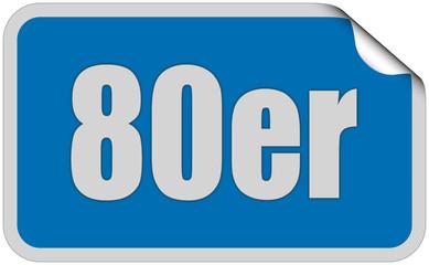 Sticker blau eckig curl oben 80ER