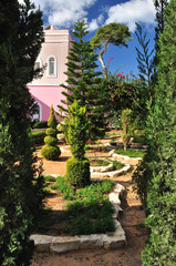 Decorative garden in the apostle Peter church. Tel-Aviv.