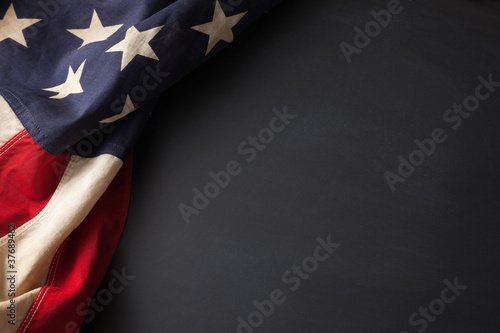Vintage American flag on a chalkboard - 37689462