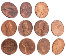 American cents isolated on white