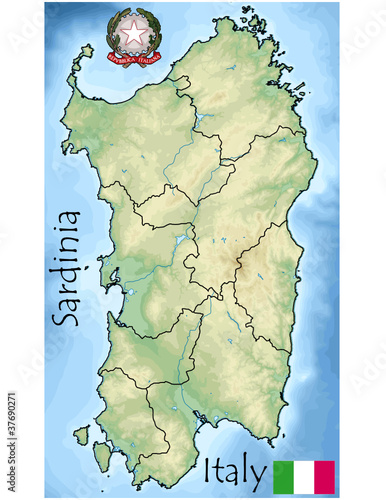 sardinia emblem map flag coat