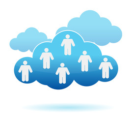 Cloud computing concept. Social networking illustration design