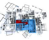 Green apartment mockup on blueprints poster