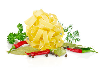 pasta with greenery and spice isolated on white background