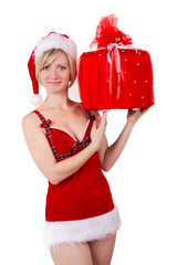 christmas girl seductive with gift isolated