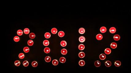 """2012 """"written"""" by candles. Crane shot."""