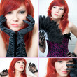 Attractive redheaded young woman, collage