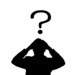 Businessman with question mark,vector image