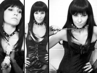 Sensual dark-haired young woman, sadomaso theme, collage
