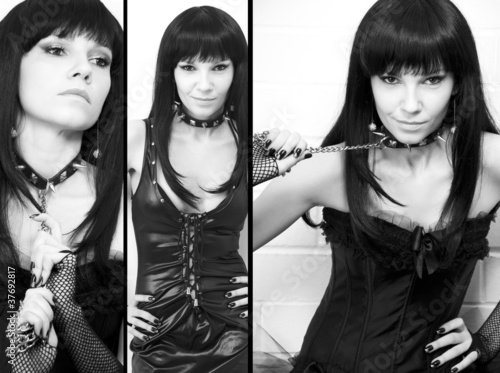 Sensual dark-haired young woman, sadomaso theme, collage