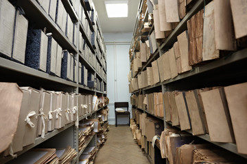 old vintage file documents in  storage room