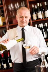 Waiter serve wine glass happy restaurant