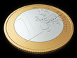 One euro coin close-up