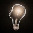 Head shaped light bulb - creativity concept