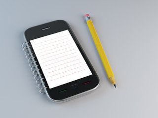 Smarthone notepad with a pencil