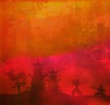 Fototapety Samurai silhouette in Asian Landscape