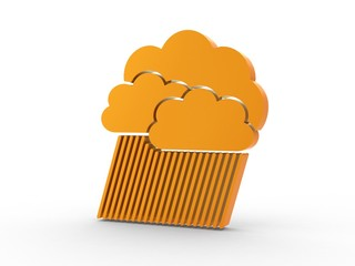 3d Icon Wolkenbruch orange