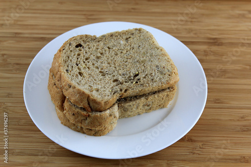 Sliced multigrain Bread on the white plate