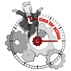businessman & time for action