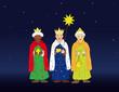 Heilige Drei Könige als Sternsinger am Abend