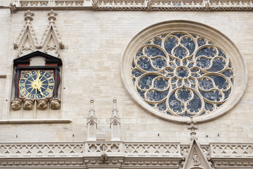 Clock of facade to Saint Jean cathedral Lyon,France