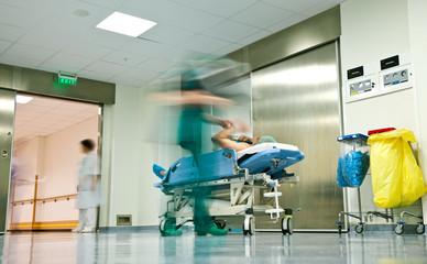 Hospital corridor trolley