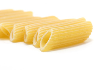 Penne rigate close-up on white