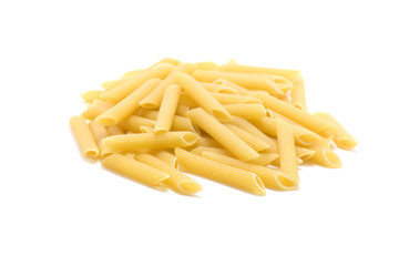 Penne rigate on white