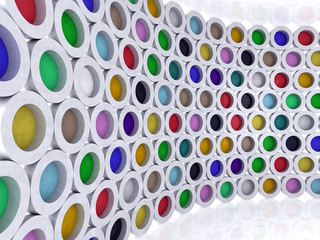 multi-colored cylinders