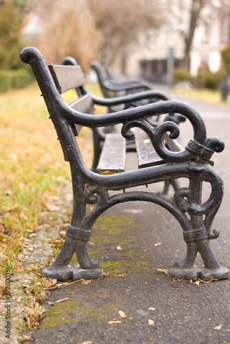 Old iron benches in brasov