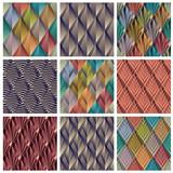 Rhombus tiles, seamless patterns set. poster