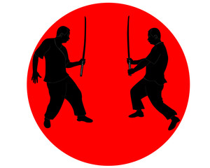 men with Japanese swords in the red circle