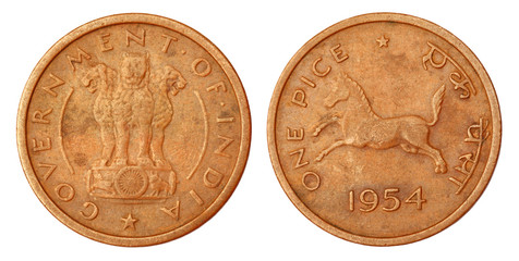 Old Indian One Pice Coin of 1954