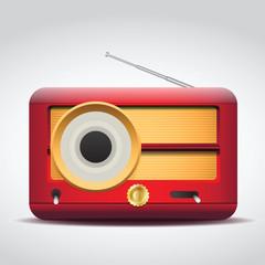 vintage vector red radio illustration