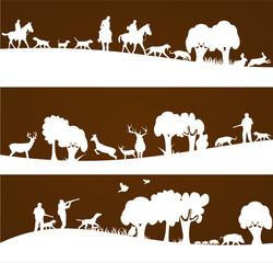 chasse et chasseurs sur bannière marron