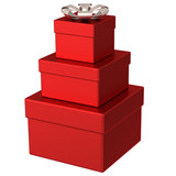 Pyramid of red gift boxes 3d
