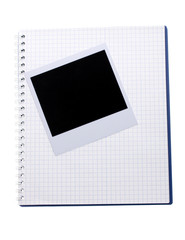 Photo paper and notebook isolated on white