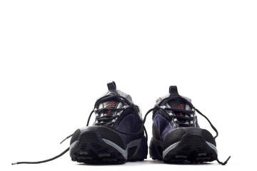 all-terrain running shoes on white background
