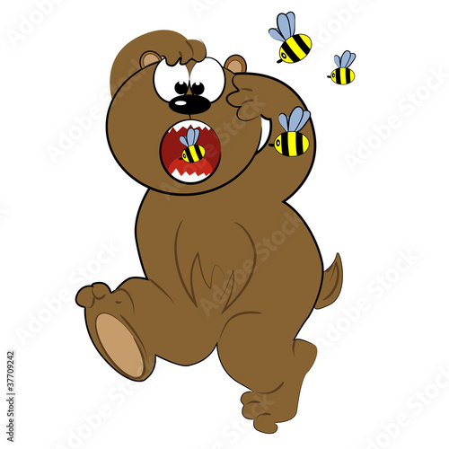 cartoon animal running from bee.cute bear vector