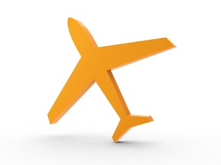 3d Icon Flugzeug orange