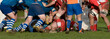 rugby scrum in panoramic view