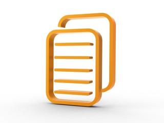 3d Icon Dokumente orange