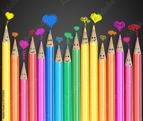 Group of smiling pencils with love heart speech bubbles