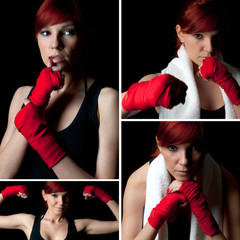 Female boxer in boxing bandage, collage