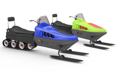 two snowmobiles