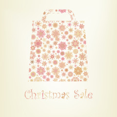 Bag For Shopping With snowflakes. EPS 8